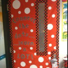 Polka dot classroom door!