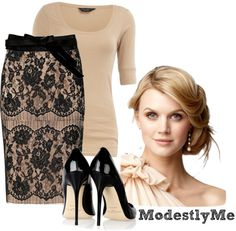 """Black-n-Lace"" by modestlyme yes... I'm aware of my style pinning all looking like Pentecostal outfits... I just like skirts a lot."
