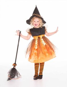 "12 Halloween Costumes That Morph to Year-Round Dress-Up | Working Mother:  Charmed Witch + Broom.  Witches never go out of style, but this ""good witch"" get-up lets her feel all-powerful and super-sweet at the same time. The party dress with tulle-overlay skirt can be worn for a multitude of non-Halloween affairs (ditto the striped tights), and the whole thing is easy-on, easy-off with a nifty hook-and-loop back closure..."