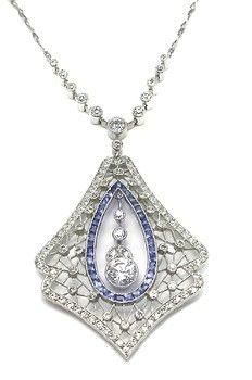Art Deco 0.60ct Diamond, Sapphire, and Platinum Necklace