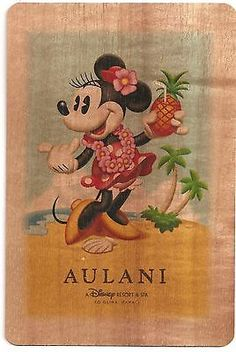 NEW Disney Aulani Minnie Mouse Koa Wood Collectible Hand made Postcard Hawaii