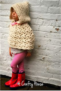 Crochet Hooded Cape Poncho Pattern {The Lyla}  This would be so cute for the girls