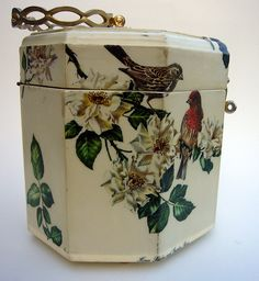 birds decoupaged on the wooden purse