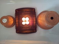 Simple, safe DIY space heater.  Uses two terra cotta pots, tea lights and a roasting pan.