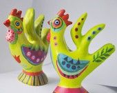 Handpainted Clay Rooster WhistleS