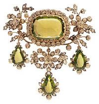 Corsage ornament from the peridot parure of Archduchess Isabella of Austria.