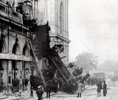 Derailed train at Gare Montparnasse, Paris, France, 1895.