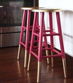 Easy & Creative Decor Ideas - Gold Dipped Bar Stools - Click Pic for 38 DIY Home Decor Ideas on a Budget