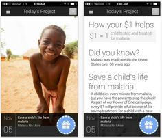 One Today app from Google. Give a dollar a day to charitable causes.