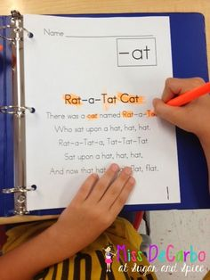 "Sample It Sunday! ""at"" word family activities - Fluency/Poetry Binder by Miss DeCarbo"