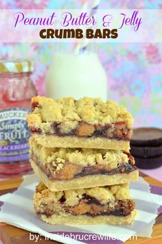 Peanut Butter & Jelly Crumb Bars from Inside BruCrew Life
