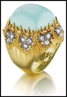 Buccellati turquoise and diamond ring in gold.