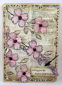 birthday, stamp, spring flowers, old book pages, card, paper crafts, spot, old books, cherry blossoms