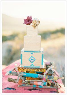 square tiered art deco wedding cake