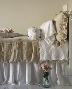 Bedding bedroom Whitewashed Cottage chippy shabby chic french country rustic swedish decor idea. ***Pinned by oldattic***