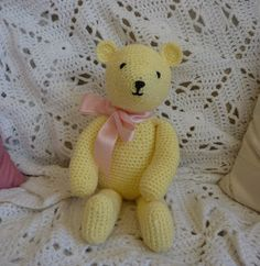 Buttercup Bear free crochet pattern by Yellow, Pink and Sparkly crochet projects, teddy bears, crochet free patterns, pink, yellow, buttercup bear, crochet patterns, christmas ideas, amigurumi patterns