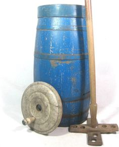 24in tall (churn) 46in tall (dasher) Antique WOODEN BUTTER CHURN ELECTRIC BLUE PAINT AAFA Primitive Folk Art #NaivePrimitive