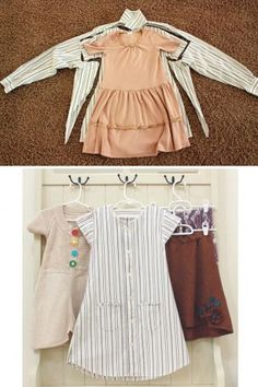 Little girl dresses made from recycled men shirts =)