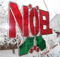 Joy Leaded Stained Glass Christmas Window Decoration - Made to Order