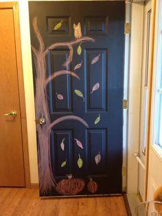 Chalkboard painted front door.