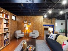 INDUSTRIAL STYLE BASEMENT WITH PLYWOOD WALLS