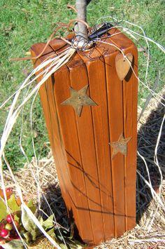 Primitive Wooden Pumpkin/ Handmade/ One Pumpkin by CornerOfTheShop, $15.00