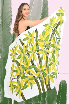 Stunning Ladies Floral Sarong - Hand-Painted (Batik Style) features Green Bamboo leaves. Beautiful Plus Size Beach Bikini Cover, even use as beach towel, wall hanging or table cloth. Many styles to choose from. Coconut Sarong Clip included. #sarong #beachcoverup #handpaintedsarong #batiksarong #bikinicover #bamboo #hawaiian #luauparty #cruisewear #cruise #beach #vacation #springbreak #hulagirl #sexy #sarongclip #coconutclip #sarongbuckle