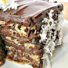dark chocolate macaroon cake