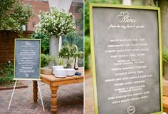 custom chalkboard menu from @suann song created for Ritzy Bee wedding photographed by Kate Headley via Snippet & Ink