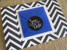 #blue and #chevron Save the Date Idea by A Designs blue