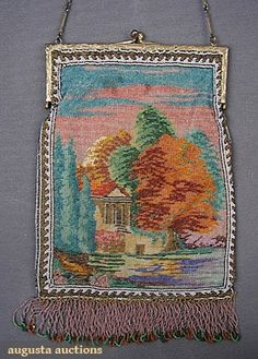 Sterling & Scenic Glass Beaded Bag, C. 1910, Augusta Auctions, March/April 2005 Vintage Clothing & Textile Auction, Lot 184