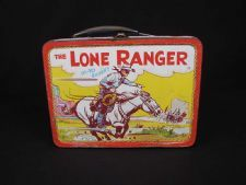 "This 1954 lunch box features drawings from the television series ""The Lone Ranger"", which ran from 1949-1957 on ABC. The front features the Lone Ranger uttering his trademark phrase ""Hi-Yo Silver!,"" and the back is both the Lone Ranger and Tonto riding their horses, the Ranger saying ""Hi-Yo Silver,"" and Tonto saying ""Get-em Up Scout!"" #loneranger"