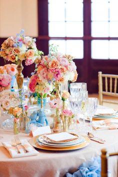 rainbow wedding roses, centerpiece