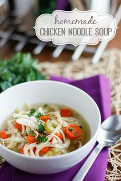 Homemade Chicken Noodle Soup -- filled with shredded chicken, carrots, celery, onion, and potatoes, this is one standout chicken soup minus the noodles, but I like it best with!
