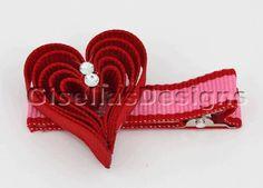 Valentine's day Heart Ribbon sculpture bow w / original swarovski crystal/ heart hair clip. $6.95, via Etsy.