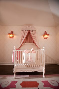 sweet pink nursery with canopy #baby #nursery #pink