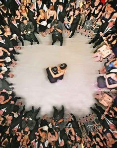 The first dance... in aerial view . | 42 Impossibly Fun Wedding Photo Ideas You'll Want To Steal