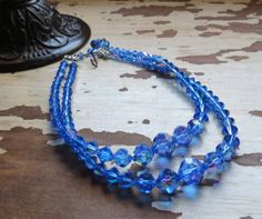 Vintage Womens Jewelry 2 Strand Necklace Royal Blue by JewelActs, $55.00