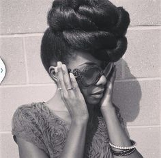 Wow, look at this twisted bun hairstyle on blown out hair! #naturalhair