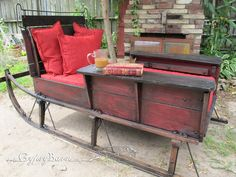 Cutter sleigh turned into bed, before-after outdoor beds, outdoor seating, sleigh beds, christmas presents, lounge chairs, reading nooks, barns, garden beds, sled
