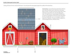 farm printable from Family Fun barn gift, animals, barnyard crafts, barn crafts for kids, barns, gift boxes templates, farm theme, paper crafts, box templates