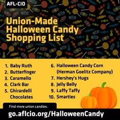 Give those trick-or-treaters union-made in America candy with this handy list! --> http://www.aflcio.org/Blog/Other-News/Union-Made-in-America-Halloween-Candy-Shopping-List #1u
