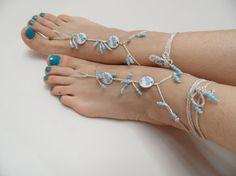tribal sandals beach wedding blue  grey  anklet by theflowerdesign