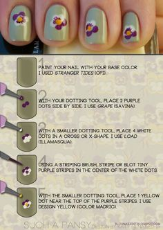 Mint, Light Green nails with purple, yellow and white pansies, flowers, polka dot technique floral nail art   How to - Tutorial