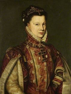 Elisabeth Isabel de  Valois, queen of Spain  PROVENANCE Antonis Mor   location Fitzwilliam Museum, ca 1560.  This is a likely copy of the portrait currently in Madrid  Was this done for and owned by Mary queen of Scots, her childhood friend ?