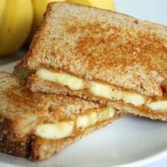 "Grilled Peanut Butter and Banana Sandwich   ""A sweet, warm breakfast idea. Cooked like a grilled cheese, but filled with melted peanut butter and warm  bananas."""