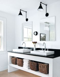 bathroom | black, white, baskets