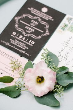 black and pink wedding stationery http://www.weddingchicks.com/2013/10/02/romantic-fall-wedding-ideas/