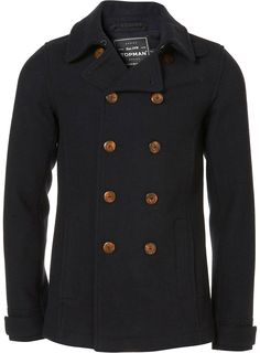 navy wool fitted peacoat - TOPMAN