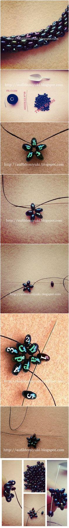 TUTO collier twin beads... version peyote tubulaire - http://aufildemiyuki.blogspot.cz/2013/03/twin-beads-tuto-collier-twin-beads.html